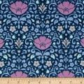 Ethereal Double Gauze Floral Damask Midnight