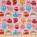 Riley Blake Jersey Knit Tree Party Owls Pink