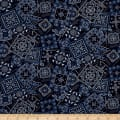 Kaufman Sevenberry  Lawn Bandana Patch Navy