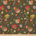 Village Garden Bird Floral Gray