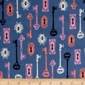 Cotton + Steel Boo Skeleton Keys Periwinkle