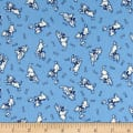 Storybook Flannel Give a Dog a Bone Blue