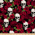 Timeless Treasures Skulls & Roses Black