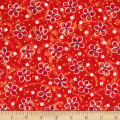 QT Fabrics Pecking Order Stencil Flower Red