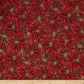 Warm Wishes Metallic Poinsettia Leaves Scarlet/Gold