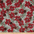 Warm Wishes Metallic Poinsettia Holly, Pinecones Frost/Silver