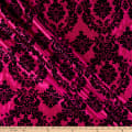 Flocked Damask Taffetta Fuchsia/Black