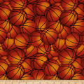 Timeless Treasures Packed Basketballs Orange