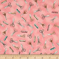 QT Fabrics Cute as a Button Scissors & Measuring Tape Pink