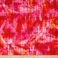 Hudson Bay Rayon Challis Abstract Plaid Red/Orange/Yellow