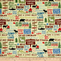 Timeless Treasures Great Outdoors Camping Words Straw