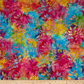 Timeless Treasures Tonga Batik Jelly Bean Tropical Leaves Multi