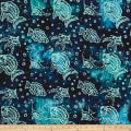 Indian Batik Ocean Grove Fish Navy/Aqua