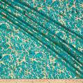 Indian Batik Montego Bay Gold Abstract  Jade Metallic