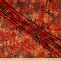 Indian Batik Montego Bay Gold Circles Orange Metallic