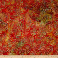 Indian Batik Embroidered Bright Mosaic Paisley  Orange