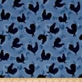 Rooster Inn  Tonal Roosters Blue