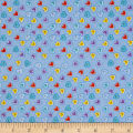 Flannel Heart Buttons Blue