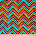 Stretch Poly Spandex Jersey Knit Oversized Multi Colored Chevron