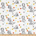 Disney Flannel 101 Dalmation Polka White