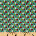 Windham Textured Leaves Multi Dot  Teal