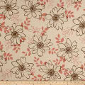 Kaufman Sevenberry Canvas Cotton Flax Prints Flowers Brown