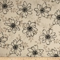 Kaufman Sevenberry Canvas Cotton Flax Prints Flowers Black