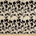Kaufman Sevenberry Canvas Cotton Flax Prints Vines Grey