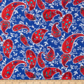 Rayon Challis Dreamer Red Paisleys on Blue
