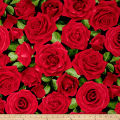 Timeless Treasures Glamour Large Allover Roses Red