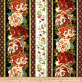 "Timeless Treasures Metallic Zen Oasis 11"" Peony Stripe Multi"