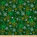Season's Greetings Snowflake Green Metallic