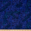 "Quilting Treasures 108"" Wide Quilt Back Ombre Scroll Navy"