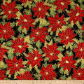 Kaufman Holiday Flourish Metallic Poinsettias Black