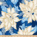 Kaufman Holiday Flourish Metallic Poinsettias Indigo