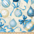 Kaufman Holiday Flourish Metallic Bulbs Blue