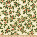 Kaufman Holiday Flourish Metallic Large Leaves Holiday