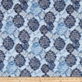 Kaufman Cotton Boucle Prints Medallion Indigo