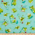 Frogland Friends Tossed Frogs And Hearts Aqua