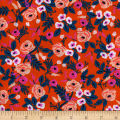 Cotton + Steel Rifle Paper Co. Wonderland Rayon Challis Painted Roses Orange