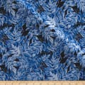Timeless Treasures Ice Metallic Frosted Leaves Navy