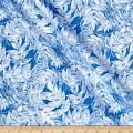Timeless Treasures Ice Metallic Frosted Leaves Peri