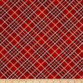 Timeless Treasures Holiday Plaids Metallic Bias Plaid Red
