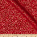 Timeless Treasures Christmas Morning Metallic Scroll Red