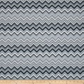 Black, White & Bright Metallic Chevron Charcoal