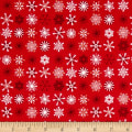 Traditional Metallic Christmas Snowflakes Red