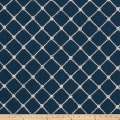 Fabricut Ticket Diamond Embroidered Navy Canvas