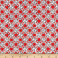 QT Fabrics Home For The Holiday Snowflake Tiles Red/Gray