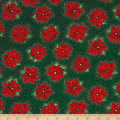 QT Fabrics Poinsettia Grandeur Metallic Tossed Poinsettia Forest