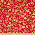 QT Fabrics Poinsettia Grandeur Metallic Filigree Red